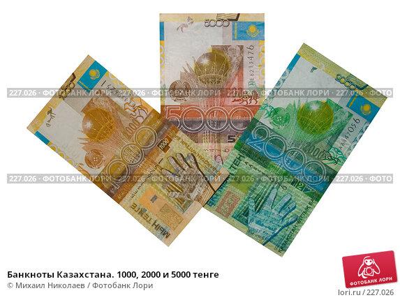 Банкноты Казахстана. 1000, 2000 и 5000 тенге, фото № 227026, снято 19 марта 2008 г. (c) Михаил Николаев / Фотобанк Лори