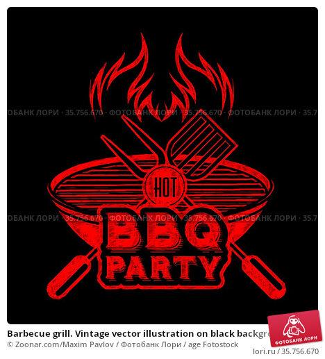 Barbecue grill. Vintage vector illustration on black background. Стоковое фото, фотограф Zoonar.com/Maxim Pavlov / age Fotostock / Фотобанк Лори