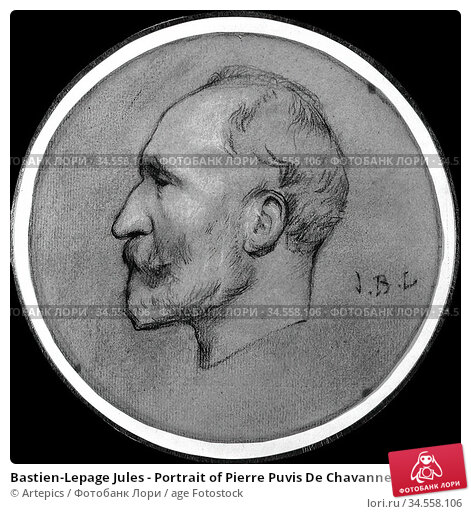 Bastien-Lepage Jules - Portrait of Pierre Puvis De Chavannes - French... Редакционное фото, фотограф Artepics / age Fotostock / Фотобанк Лори