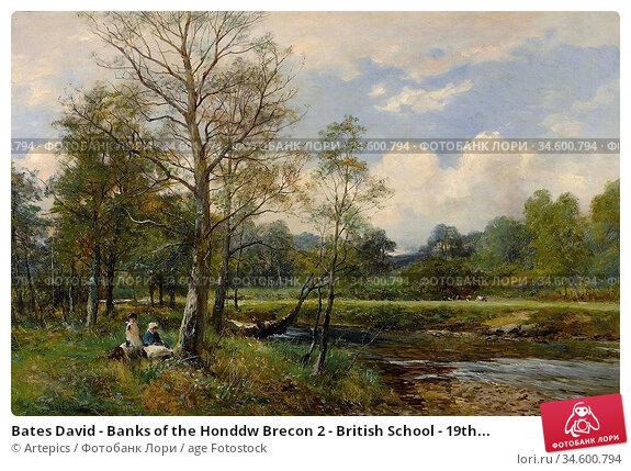 Bates David - Banks of the Honddw Brecon 2 - British School - 19th... Стоковое фото, фотограф Artepics / age Fotostock / Фотобанк Лори