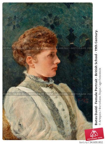 Bates David - Female Portrait - British School - 19th Century. Стоковое фото, фотограф Artepics / age Fotostock / Фотобанк Лори