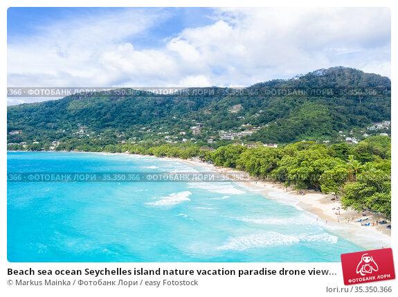 Beach sea ocean Seychelles island nature vacation paradise drone view... Стоковое фото, фотограф Markus Mainka / easy Fotostock / Фотобанк Лори
