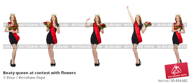 Beaty queen at contest with flowers. Стоковое фото, фотограф Elnur / Фотобанк Лори