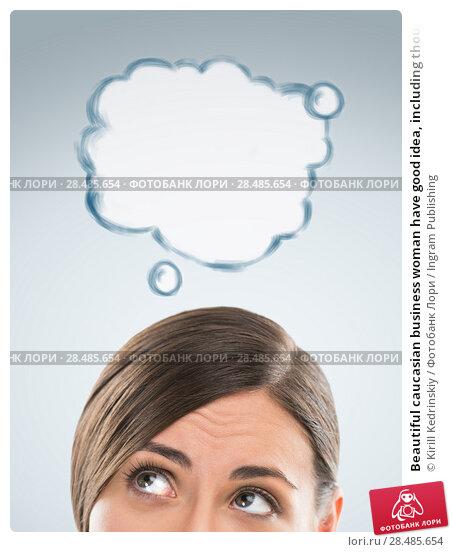 Купить «Beautiful caucasian business woman have good idea, including thought bubble with copy space on grey background», фото № 28485654, снято 2 февраля 2013 г. (c) Ingram Publishing / Фотобанк Лори