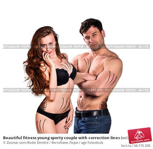 Купить «Beautiful fitness young sporty couple with correction lines isolated over white background», фото № 34115330, снято 11 июля 2020 г. (c) age Fotostock / Фотобанк Лори