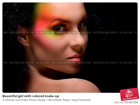 Beautiful girl with colored make-up. Стоковое фото, фотограф Zoonar.com/Yeko Photo Studio / easy Fotostock / Фотобанк Лори
