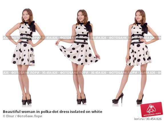 Beautiful woman in polka-dot dress isolated on white. Стоковое фото, фотограф Elnur / Фотобанк Лори