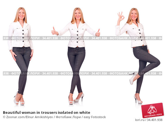 Beautiful woman in trousers isolated on white. Стоковое фото, фотограф Zoonar.com/Elnur Amikishiyev / easy Fotostock / Фотобанк Лори