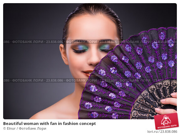 Купить «Beautiful woman with fan in fashion concept», фото № 23838086, снято 17 августа 2016 г. (c) Elnur / Фотобанк Лори