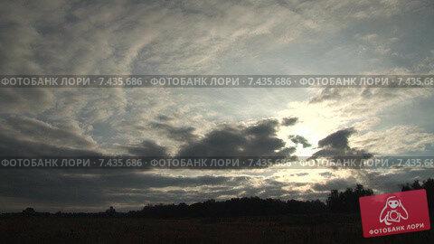 Бегущие облака над осенним полем. Утро. Timelapse. Скорость х100. Стоковое видео, видеограф Mike The / Фотобанк Лори