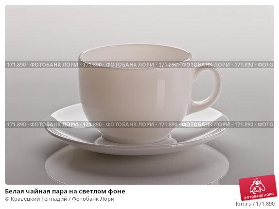 Белая чайная пара на светлом фоне, фото № 171890, снято 5 декабря 2005 г. (c) Кравецкий Геннадий / Фотобанк Лори