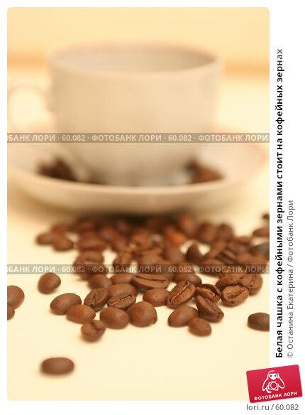 Белая чашка с кофейными зернами стоит на кофейных зернах, фото № 60082, снято 3 ноября 2006 г. (c) Останина Екатерина / Фотобанк Лори