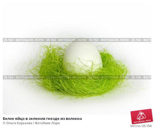 Белое яйцо в зеленом гнезде из волокна, фото № 25154, снято 20 марта 2007 г. (c) Ольга Хорькова / Фотобанк Лори