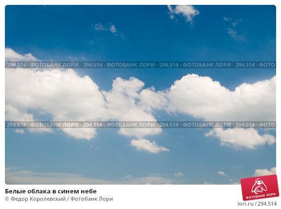 Белые облака в синем небе, фото № 294514, снято 17 мая 2008 г. (c) Федор Королевский / Фотобанк Лори