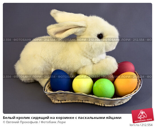 Белый кролик сидящий на корзинке с пасхальными яйцами, фото № 212554, снято 2 марта 2008 г. (c) Евгений Прокофьев / Фотобанк Лори