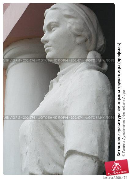 Бетонная скульптура женщины-труженицы (профиль), фото № 200474, снято 12 февраля 2008 г. (c) Галина Лукьяненко / Фотобанк Лори