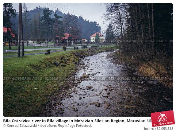 Bila Ostravice river in Bila village in Moravian-Silesian Region, Moravian Silesian Beskid Mountains in Czech Republic. Стоковое фото, фотограф Konrad Zelazowski / age Fotostock / Фотобанк Лори