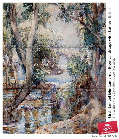 Birch Samuel John Lamorna - River Landscape with Bather - British... Стоковое фото, фотограф Artepics / age Fotostock / Фотобанк Лори