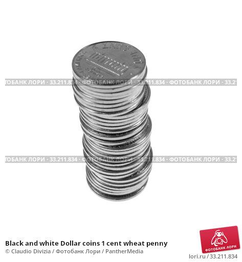 Купить «Black and white Dollar coins 1 cent wheat penny», фото № 33211834, снято 3 апреля 2020 г. (c) PantherMedia / Фотобанк Лори