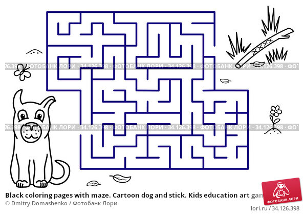 Купить «Black coloring pages with maze. Cartoon dog and stick. Kids education art game. Template design with pet on white background. Outline vector», иллюстрация № 34126398 (c) Dmitry Domashenko / Фотобанк Лори