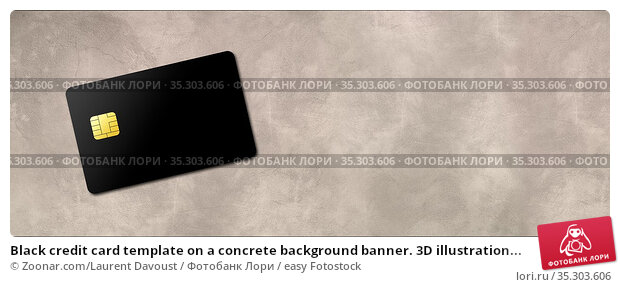 Black credit card template on a concrete background banner. 3D illustration... Стоковое фото, фотограф Zoonar.com/Laurent Davoust / easy Fotostock / Фотобанк Лори