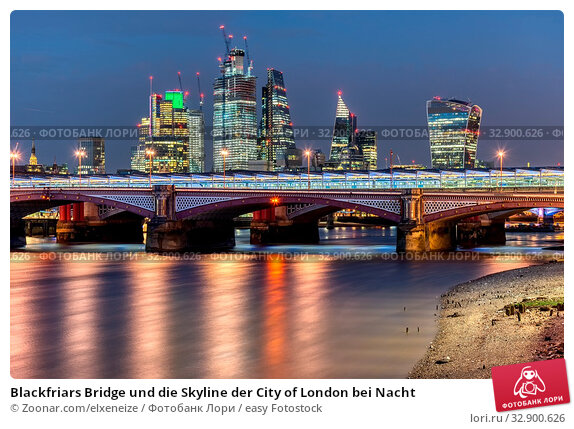 Blackfriars Bridge und die Skyline der City of London bei Nacht. Стоковое фото, фотограф Zoonar.com/elxeneize / easy Fotostock / Фотобанк Лори
