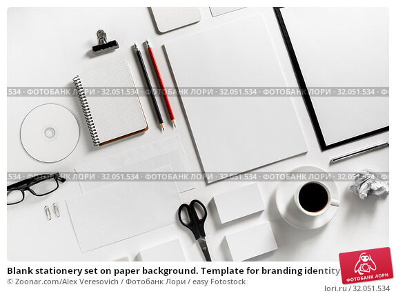 Blank stationery set on paper background. Template for branding identity. For graphic designers portfolios. Top view. Стоковое фото, фотограф Zoonar.com/Alex Veresovich / easy Fotostock / Фотобанк Лори