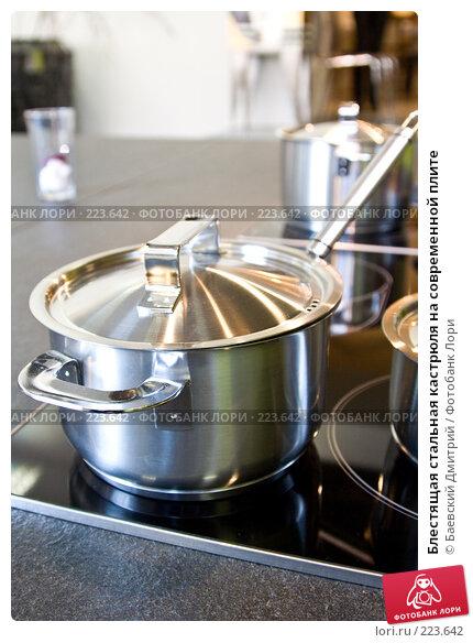 Купить «Блестящая стальная кастрюля на современной плите», фото № 223642, снято 14 марта 2008 г. (c) Баевский Дмитрий / Фотобанк Лори
