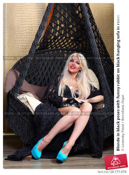 Купить «Blonde in black poses with funny rabbit on black hanging sofa in room», фото № 28171074, снято 20 ноября 2015 г. (c) Losevsky Pavel / Фотобанк Лори