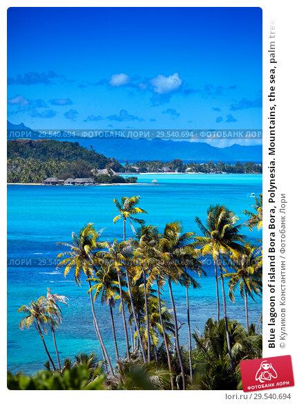 Купить «Blue lagoon of island Bora Bora, Polynesia. Mountains, the sea, palm trees.», фото № 29540694, снято 18 июня 2011 г. (c) Куликов Константин / Фотобанк Лори