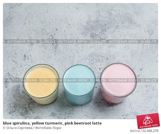 blue spirulina, yellow turmeric, pink beetroot latte. Стоковое фото, фотограф Ольга Сергеева / Фотобанк Лори