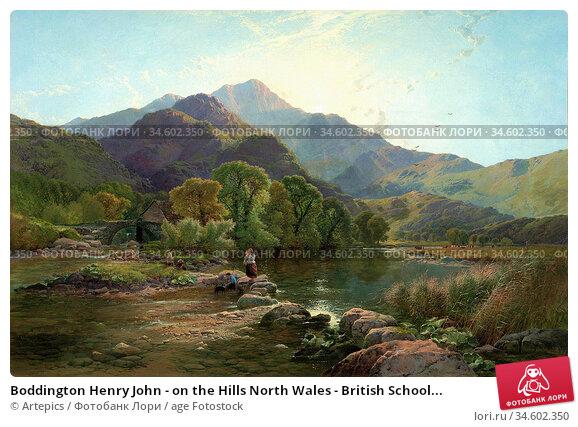 Boddington Henry John - on the Hills North Wales - British School... Стоковое фото, фотограф Artepics / age Fotostock / Фотобанк Лори