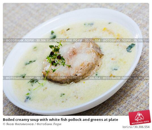 Купить «Boiled creamy soup with white fish pollock and greens at plate», фото № 30306554, снято 4 июля 2020 г. (c) Яков Филимонов / Фотобанк Лори