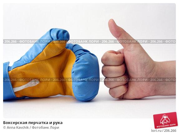 Боксерская перчатка и рука, фото № 206266, снято 18 февраля 2008 г. (c) Anna Kavchik / Фотобанк Лори