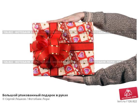 Большой упакованный подарок в руках, фото № 126822, снято 25 ноября 2007 г. (c) Сергей Лешков / Фотобанк Лори