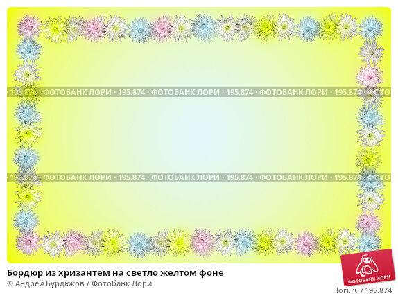 Бордюр из хризантем на светло желтом фоне, фото № 195874, снято 5 декабря 2016 г. (c) Андрей Бурдюков / Фотобанк Лори