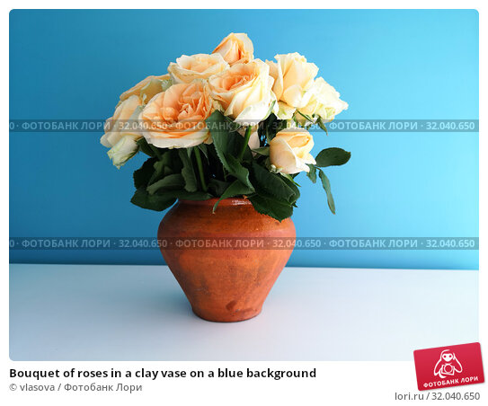 Bouquet of roses in a clay vase on a blue background. Стоковое фото, фотограф vlasova / Фотобанк Лори