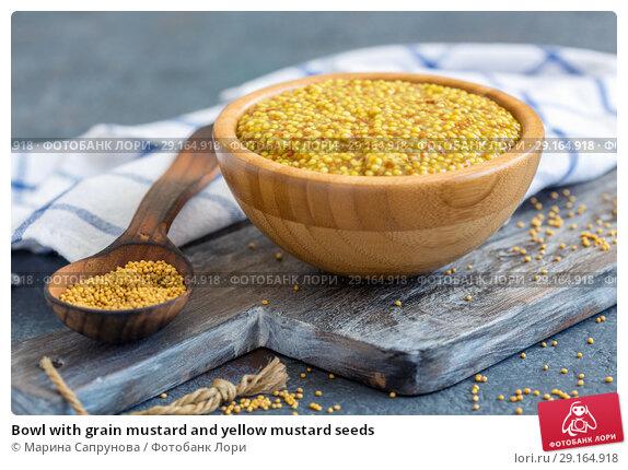 Купить «Bowl with grain mustard and yellow mustard seeds», фото № 29164918, снято 13 сентября 2018 г. (c) Марина Сапрунова / Фотобанк Лори