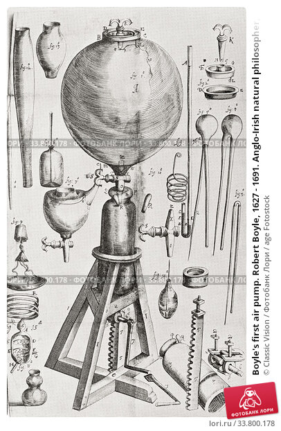 Купить «Boyle's first air pump. Robert Boyle, 1627 - 1691. Anglo-Irish natural philosopher, chemist, physicist, and inventor. From Selected Readings in the History of Physiology, published 1930.», фото № 33800178, снято 24 марта 2020 г. (c) age Fotostock / Фотобанк Лори