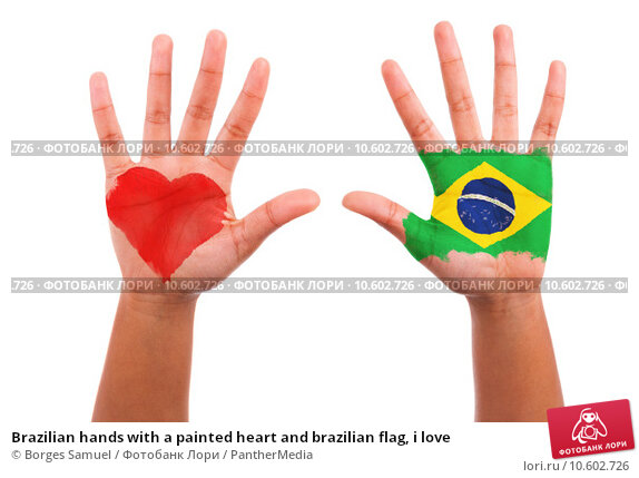 Brazilian hands with a painted heart and brazilian flag, i love . Стоковое фото, фотограф Borges Samuel / PantherMedia / Фотобанк Лори