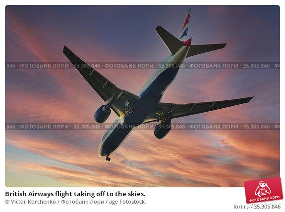 British Airways flight taking off to the skies. Стоковое фото, фотограф Victor Korchenko / age Fotostock / Фотобанк Лори