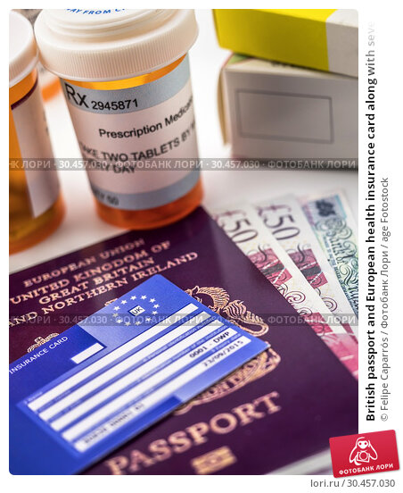 British passport and European health insurance card along with several capsules, concept of medical increase in the crisis of the brexit, conceptual image, horizontal composition. Стоковое фото, фотограф Felipe Caparrós / age Fotostock / Фотобанк Лори