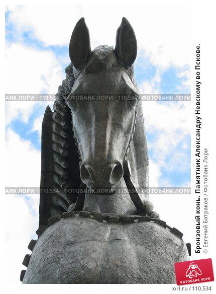 Бронзовый конь. Памятник Александру Невскому во Пскове., фото № 110534, снято 18 августа 2007 г. (c) Евгений Батраков / Фотобанк Лори