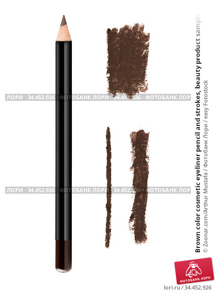 Brown color cosmetic eyeliner pencil and strokes, beauty product sample... Стоковое фото, фотограф Zoonar.com/Arthur Mustafa / easy Fotostock / Фотобанк Лори