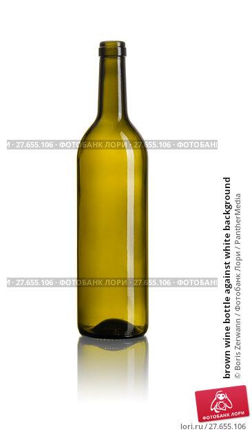 Купить «brown wine bottle against white background», фото № 27655106, снято 27 июня 2019 г. (c) PantherMedia / Фотобанк Лори