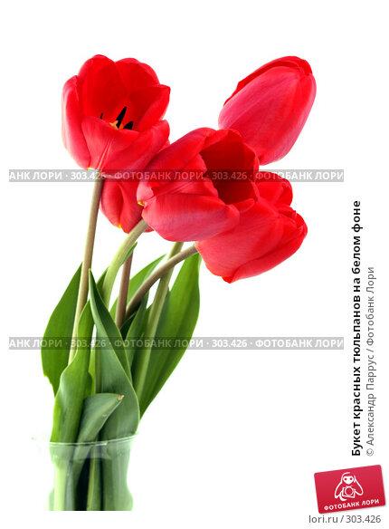 Букет красных тюльпанов на белом фоне, фото № 303426, снято 21 апреля 2008 г. (c) Александр Паррус / Фотобанк Лори