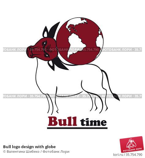 Bull logo design with globe. Стоковая иллюстрация, иллюстратор Валентина Шибеко / Фотобанк Лори