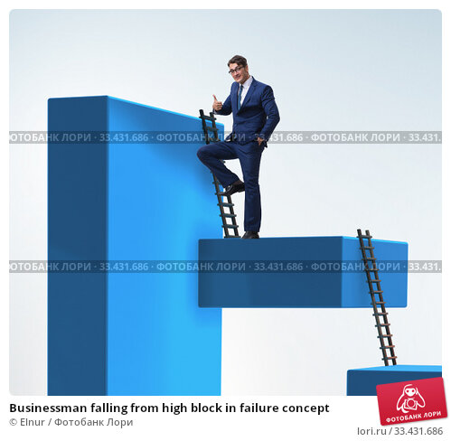 Купить «Businessman falling from high block in failure concept», фото № 33431686, снято 2 апреля 2020 г. (c) Elnur / Фотобанк Лори