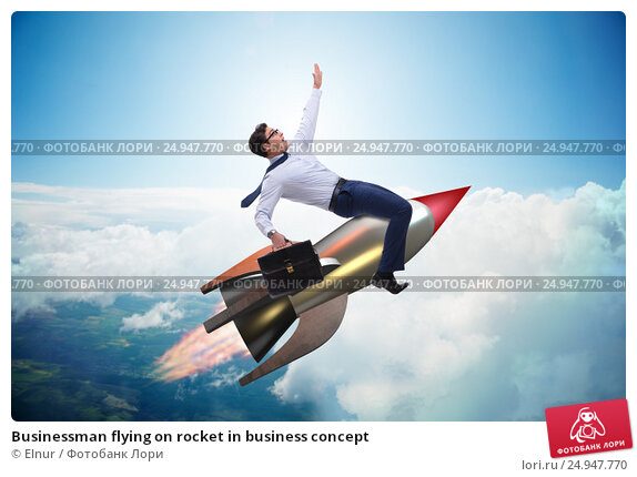 Businessman flying on rocket in business concept. Стоковое фото, фотограф Elnur / Фотобанк Лори