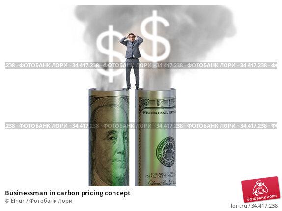 Businessman in carbon pricing concept. Стоковое фото, фотограф Elnur / Фотобанк Лори